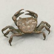 A small bronze model of a crab