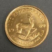 A 1/10 Krugerrand coin