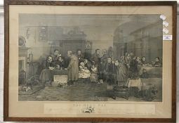 ABRAHAM RAIMBACH After DAVID WILKIE, The Rent Day, engraving, framed and glazed,