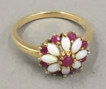 A 9 ct gold opal ring