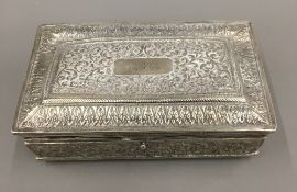 An Indian silver cigarette box