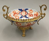 A 19th century gilt metal mounted Imari bowl
