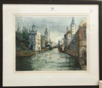 CONTINENTAL SCHOOL (19th century), An Urban Waterway, aquatint etching, signed,