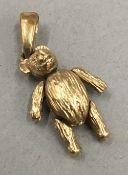 A 9 ct gold teddy bear charm