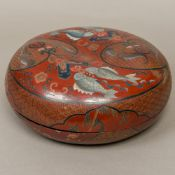 A 19th century Chinese lacquer marriage box Incise decorated with bats, fish, geometric motifs, etc,