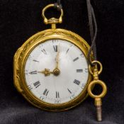 An 18th century pair cased pocket watch The outer case embossed with classical figures amongst
