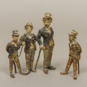 Two late 19th century Austrian cold painted bronze models Formed as a barbers shop quartet.