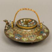 A fine quality Chinese late 19th century cloisonne teapot Of squat rounded form,