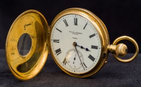 An 18 ct gold half hunter pocket watch The white enamelled dial with Roman numerals inscribed WH &