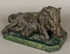After the Antique Suckling Wild Boar Bronze, indistinctly signed on the shaped marble plinth base.