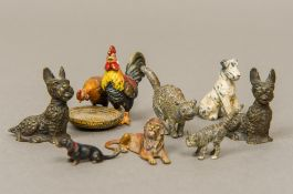 An Austrian cold painted animalier group Formed as a chicken and a cockerel before a basket;