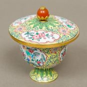 A Chinese Canton enamel stem cup and cover Finely painted with cockerel panels interspersed with