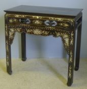 A 19th century Chinese mother-of-pearl inlaid hardwood altar table Of cleated rectangular form,