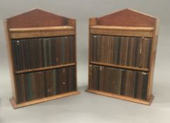 Cassell's National Library In two original bespoke wooden miniature display bookcases,