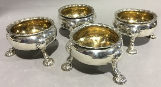 A set of four George II silver salts, hallmarked London 1754,