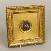 A 19th century Continental miniature Worked with figures in a tavern, oils, framed and glazed.