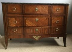 A 19th century Continental gilt metal mounted kingwood marble topped commode chest The shaped black