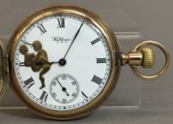 An early 20th century Waltham gold plated erotic pocket watch The signed dial with subsidiary
