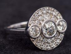 An 18 ct white gold diamond ring Pave set with approximately 2.35 carats of diamonds. 1.