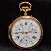 A 19th century French 18K gold cased multi-dial pocket watch The white enamelled dial with Arabic