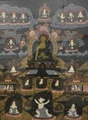 A hand painted Tibetan thanka Typically worked, framed and glazed. 49.5 x 67 cm.