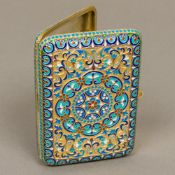 A cloisonne decorated silver cigarette case Of typical hinged rectangular form,