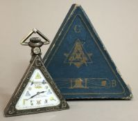 A Swiss 800 silver cased Masonic pocket watch Of typical triangular form,