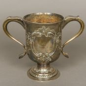 A Georgian III silver twin handled trophy cup, hallmarks indistinct,