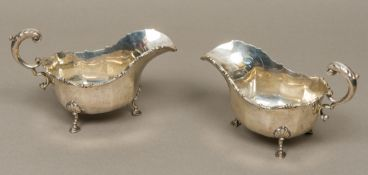 A pair of George V silver sauceboats, each hallmarked London 1919,