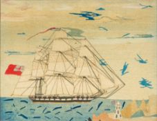 A needlework picture Worked with a three-masted sailing ship, a lighthouse in the foreground,
