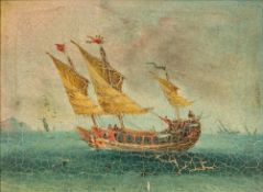 CHINESE EXPORT SCHOOL (18th century) Junk in Full Sail Oil on canvas, framed. 29 x 21 cm.