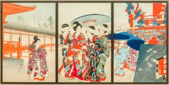 WATANABE NOBUKAZU (1874-1944) Japanese Botanen Mankai (Peony Garden at Yotsume) Triptych colour