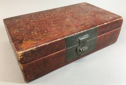 A Chinese red lacquered box and cover Of rectangular section,