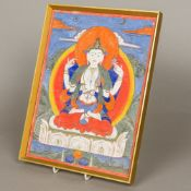A Tibetan Thanka Depicting Chenrezig Bodhisattva, framed and glazed. 24.5 x 32.5 cm.