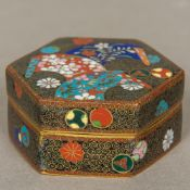A late 19th/early 20th century Chinese cloisonne box Of hexagonal form,
