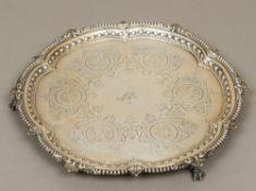A Victorian silver salver, hallmarked London 1894,