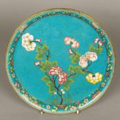 A late 19th century Chinese cloisonne tray Of dished form, decorated with floral sprays. 25.