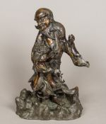 A 19th century Japanese bronze figure of an immortal Modelled in flowing robes embracing a mythical