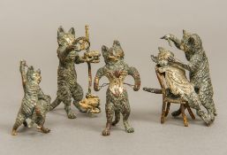 An Austrian cold painted bronze animalier group Formed as cat giving another cat a shave;