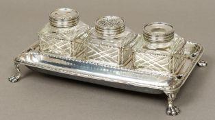 A fine 18th century silver inkstand, hallmarked London 1767,
