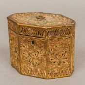 A George III rolled paper tea caddy Of octagonal section, with each panel typically decorated,