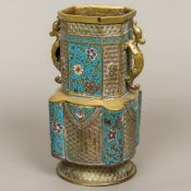 A late 19th century Chinese cloisonne decorated bronze vase Of canted square and lobed form,