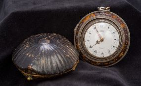 A George III triple cased pocket watch The silver cased movement with white enamel dial inscribed