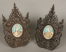 A pair of 19th century finely painted Indian miniatures on ivory Probably depicting a Maharaja and