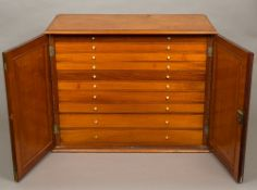 A Victorian mahogany collectors cabinet The moulded rectangular top above the twin panelled doors