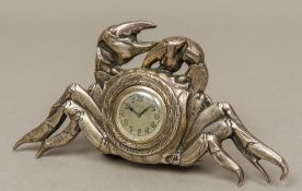 An 800 silver cased novelty desk clock Formed as a crab,