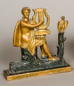 An 18th/19th century Continental carved giltwood and ebonised figure of a classical female playing