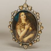A 19th century miniature portrait on ivory Depicting the penitent Magdalene after TITIAN,
