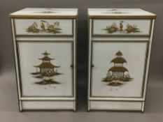 A pair of chinoiserie lacquered bedside cabinets Each fitted with a drawer above a cupboard door.