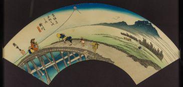 UTAGAWA HIROSHIGE (1797-1858) Japanese Fan Shaped Coloured Woodblock print Signed with